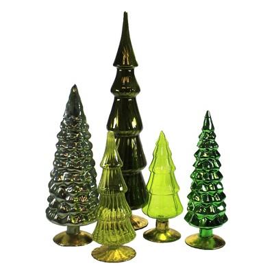 "Christmas 17.0"" Green Hues Glass Trees Set / 5 Decorate Mantle Christmas Decor  -  Decorative Figurines"
