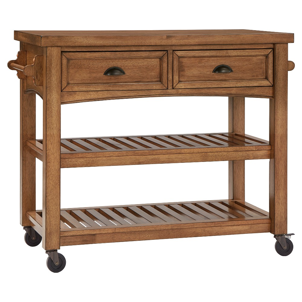 South Hill Wood Top Kitchen Cart - Bark (Brown) - Inspire Q