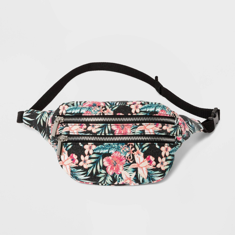 Women's Floral Print Fanny Pack - Wild Fable Black