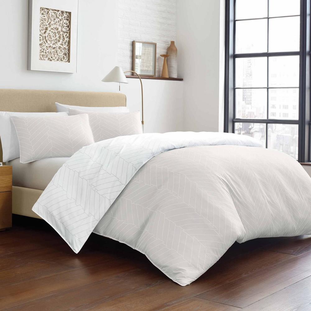 Image of City Scene King Demi Comforter & Sham Set Linen, Beige