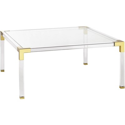 """55 Downing Street Hanna 40"""" Square Clear Acrylic Modern Coffee Table"""