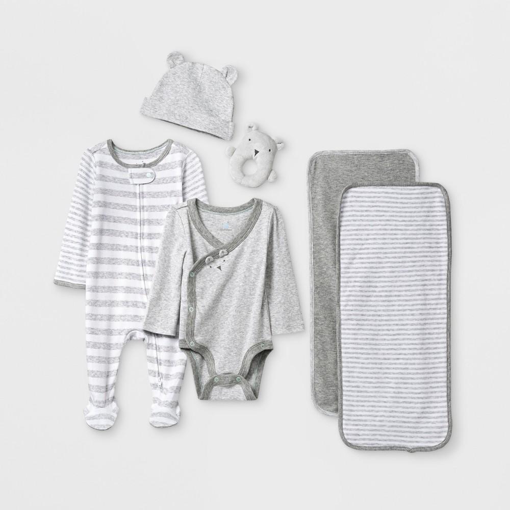 Image of Baby Boys' 6pc Gift Box Set - Cloud Island Gray 0-3M, Boy's, Gray/Blue