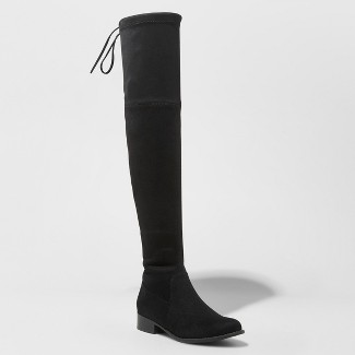 Women's Sidney Over the Knee Sock Boots - A New Day™ Black 9.5
