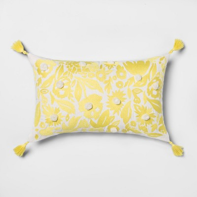 Embroidered Floral Lumbar Throw Pillow Yellow - Opalhouse™