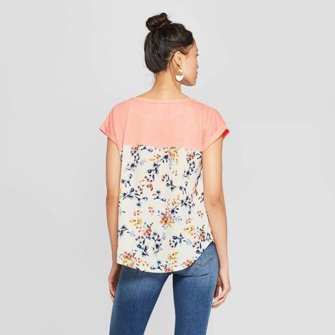 d42cf41b4 Women's Floral Print Short Sleeve Crewneck T-Shirt - Xhilaration™ Navy :  Target