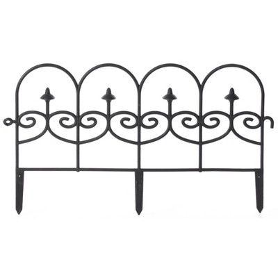 Gardenised Vinyl Wrought Iron- Look Garden Ornamental Edging, Lawn Picket Fence Landscape Panel Border, Flower Bed Barrier, One Piece