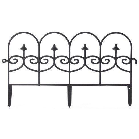 Gardenised Vinyl Wrought Iron- Look Garden Ornamental Edging, Lawn Picket Fence Landscape Panel Border, Flower Bed Barrier, One Piece - image 1 of 4