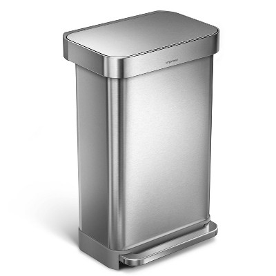 simplehuman 45L Rectangular Step Trash Can Silver