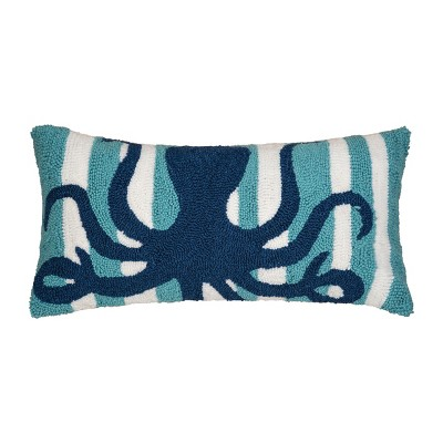 """C&F Home 12"""" x 24"""" Striped Octopus Hooked Pillow"""