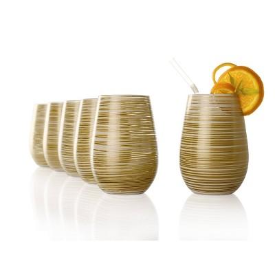 16.5oz 6pk Glass Olympia Twister Tumbler Drinkware Set White/Gold - Stolzle Lausitz