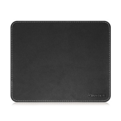 Insten Black Leather Mouse Pad with Anti-Slip Rubber Base & Waterproof Coating & Elegant Stitched Edges