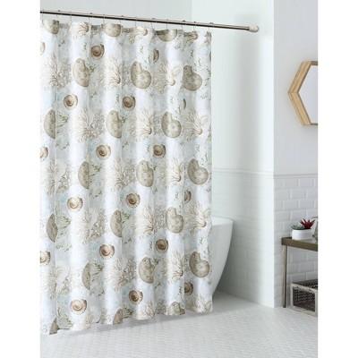 13pc Aberdeen Seashell Coastal Shower Curtain Set White - VCNY