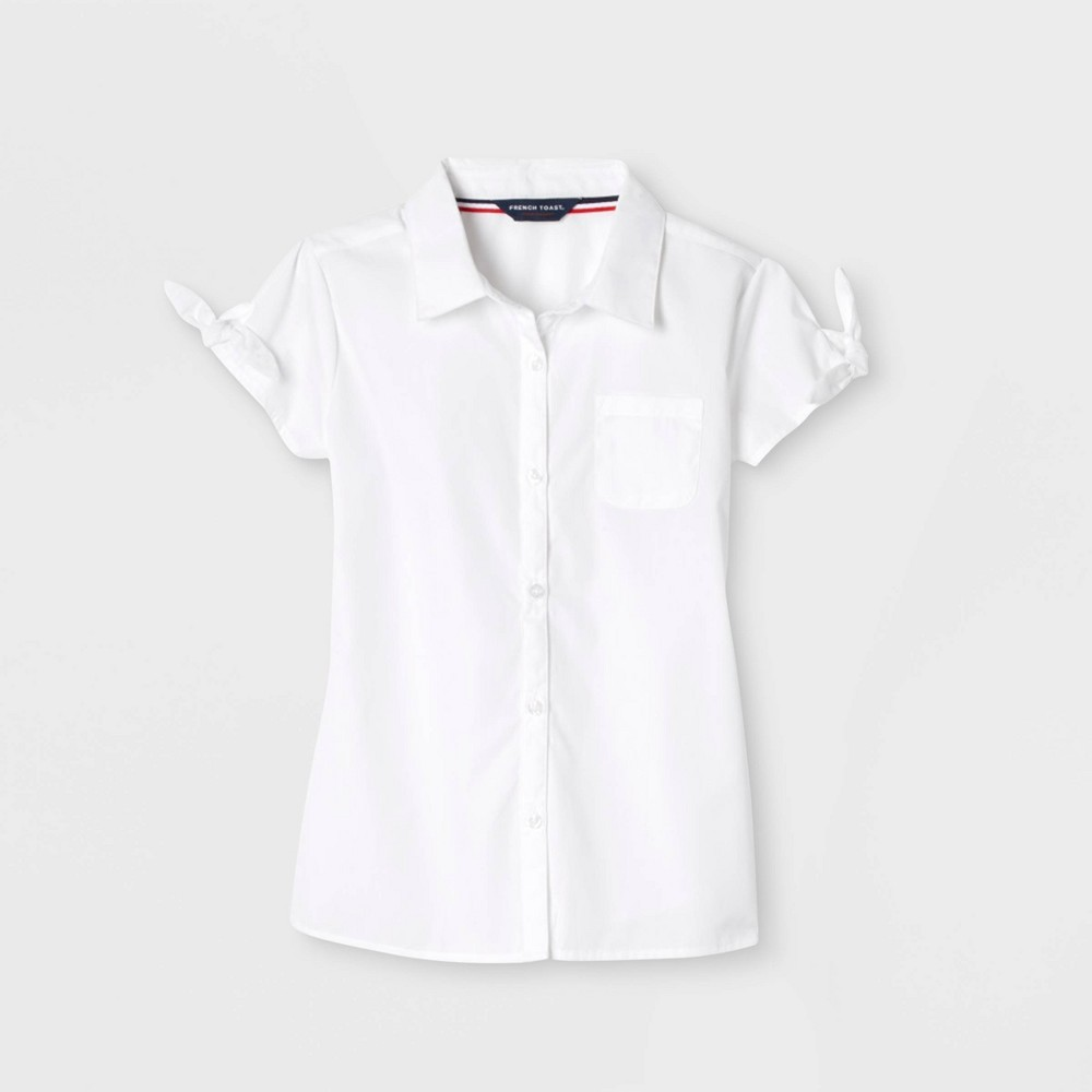 French Toast Girls Bow Sleeve Button Down Uniform Shirt