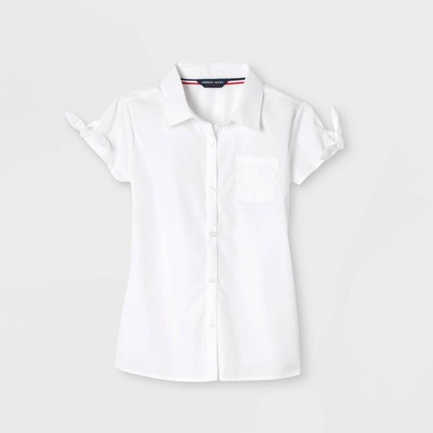 French Toast Girls' Bow Sleeve Button-Down Uniform Shirt - White 14 - image 1 of 2