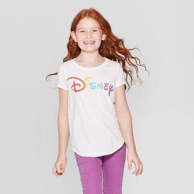Girls' Disney Logo Short Sleeve T-Shirt - Off-White