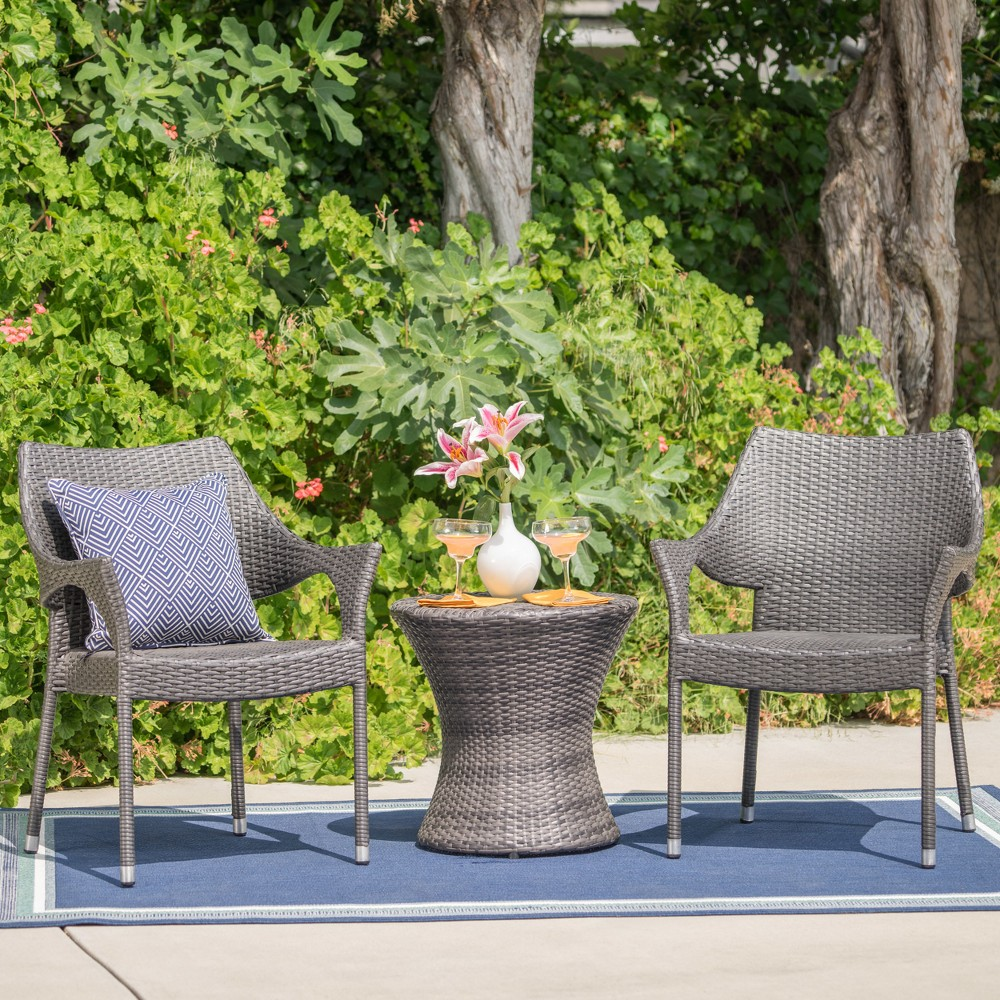 Mirage 3pc Wicker Chat Set - Gray - Christopher Knight Home