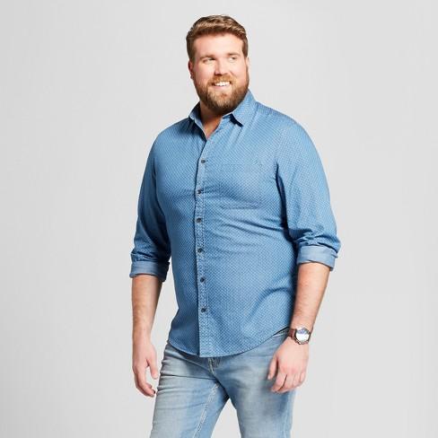 2c872c40ee Men s Big   Tall Standard Fit Long Sleeve Denim Shirt - Goodfellow   Co™  Horizon Blue   Target