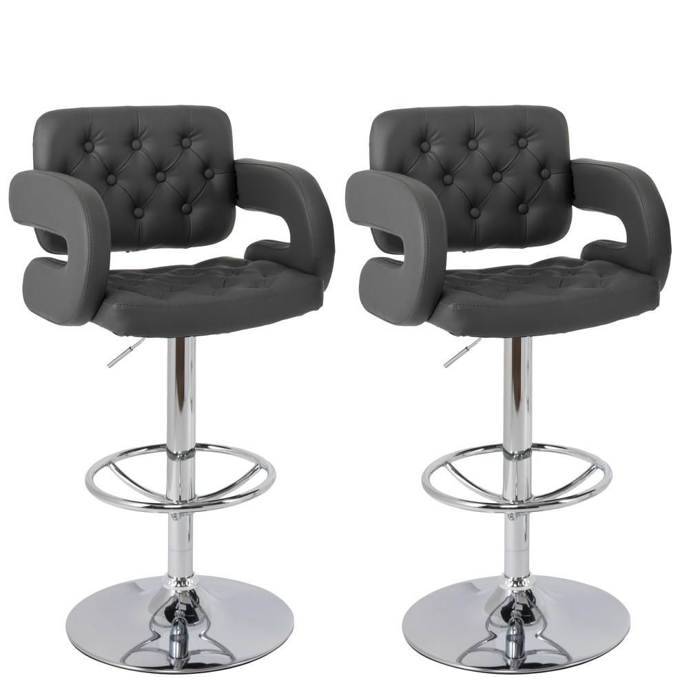 Set of 2 Adjustable Tufted Bonded Leather Barstool with Armrests Dark Gray - CorLiving