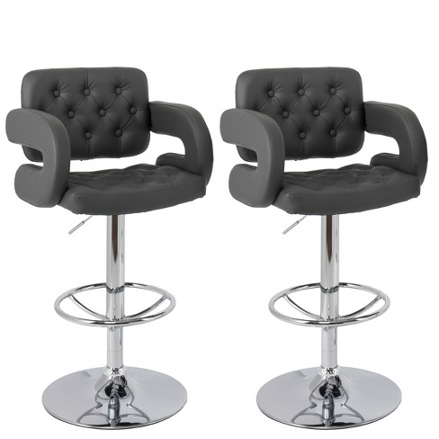 Outstanding Set Of 2 Adjustable Tufted Bonded Leather Barstool With Armrests Dark Gray Corliving Dailytribune Chair Design For Home Dailytribuneorg