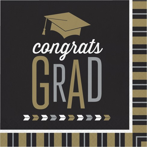 16ct Silver And Gold Glitz Graduation Napkins - image 1 of 1