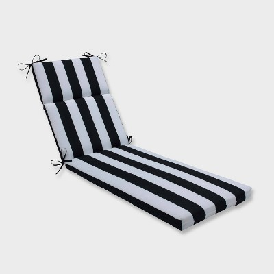 Cabana Stripe Chaise Lounge Outdoor Cushion Black - Pillow Perfect