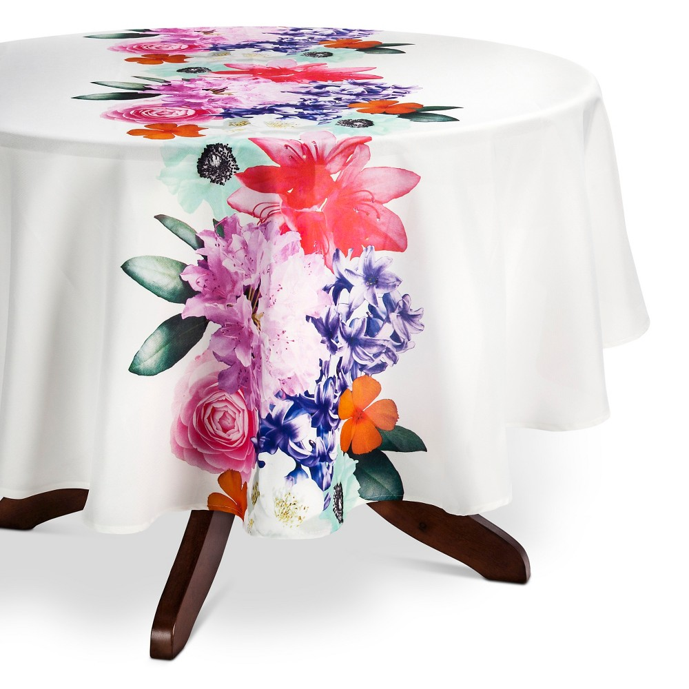 Image of Coral Tablecloth (70 Round) - Ladelle, Multi-Colored