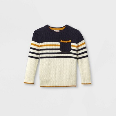 Toddler Boys' Colorblock Pullover Sweater - Cat & Jack™ Cream