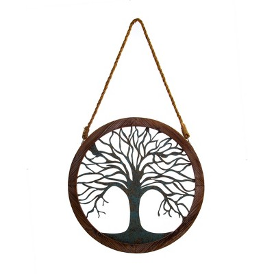 "18""x18"" Rustic Round Wood and Patina Decorative Tree Wall Decor Brown - Patton Wall Decor"