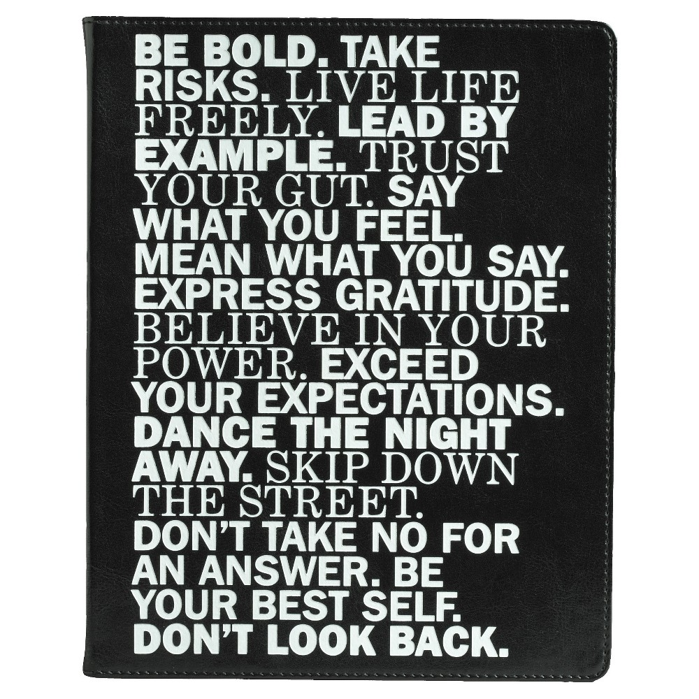 "Image of ""Eccolo Desk Journal, Narrow Ruled, 10"""" x 8"""", 256 sheets - Inspirational Words, Black"""