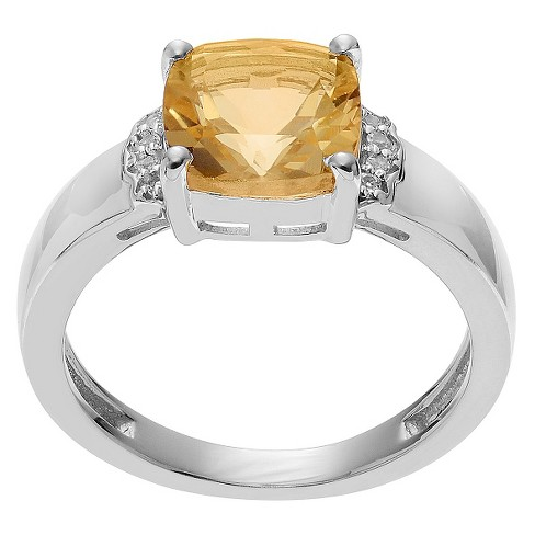 1 1/2 CT. T.W. Cushion-Cut Citrine Accent Prong-Set Ring in Sterling Silver - Yellow - image 1 of 2