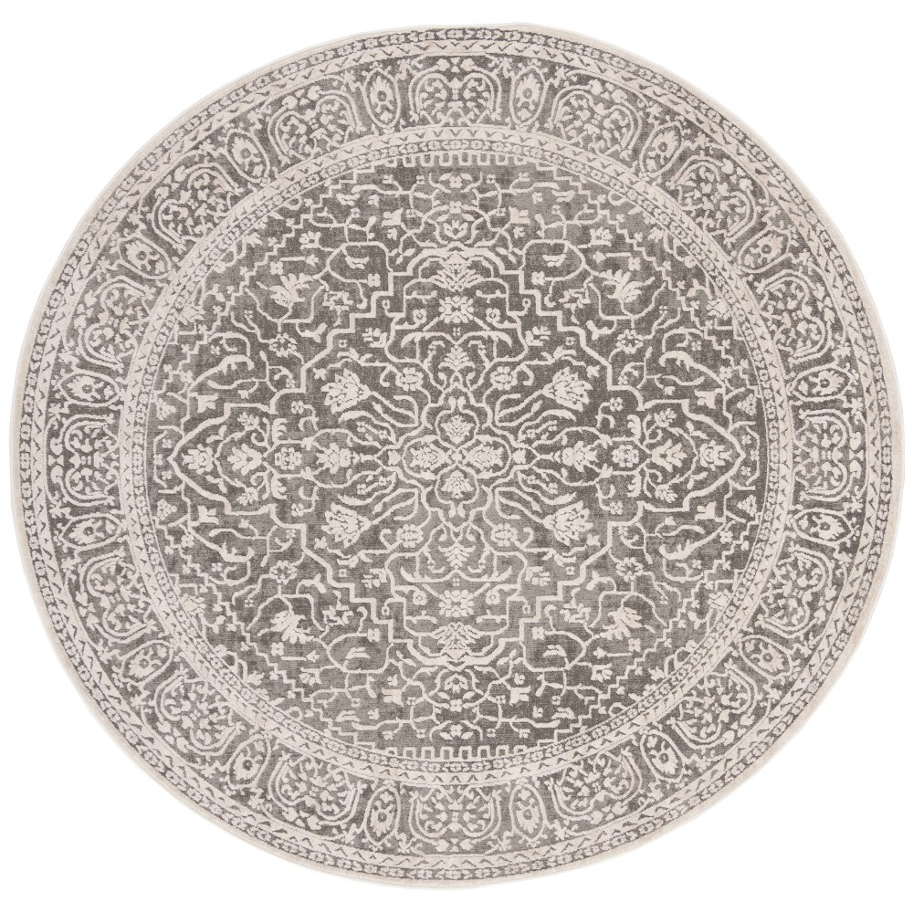 6'7 Floral Loomed Round Area Rug Dark Gray - Safavieh