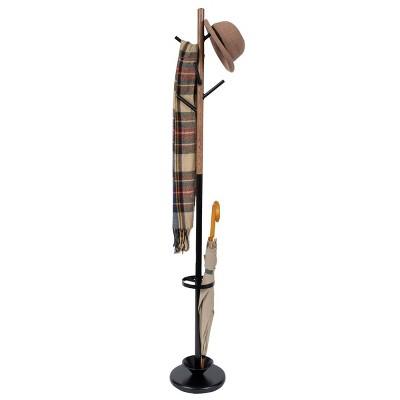 Juvale Freestanding Coat Rack Stand with 6 Hooks, 71 inch Coat Tree Hat Hanger with Umbrella Holder for Entryway, Black & Oak Grain Metal