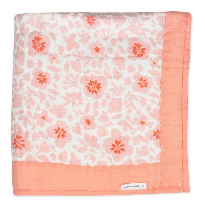 Honest Baby Organic Cotton Hand-Quilted Blanket - Peach Skin Papercut Floral