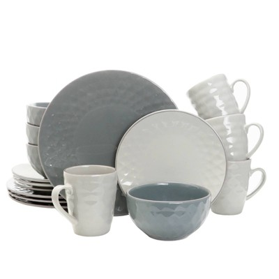 16pc Stoneware Mutli-Diamond Dinnerware Set Gray - Elama