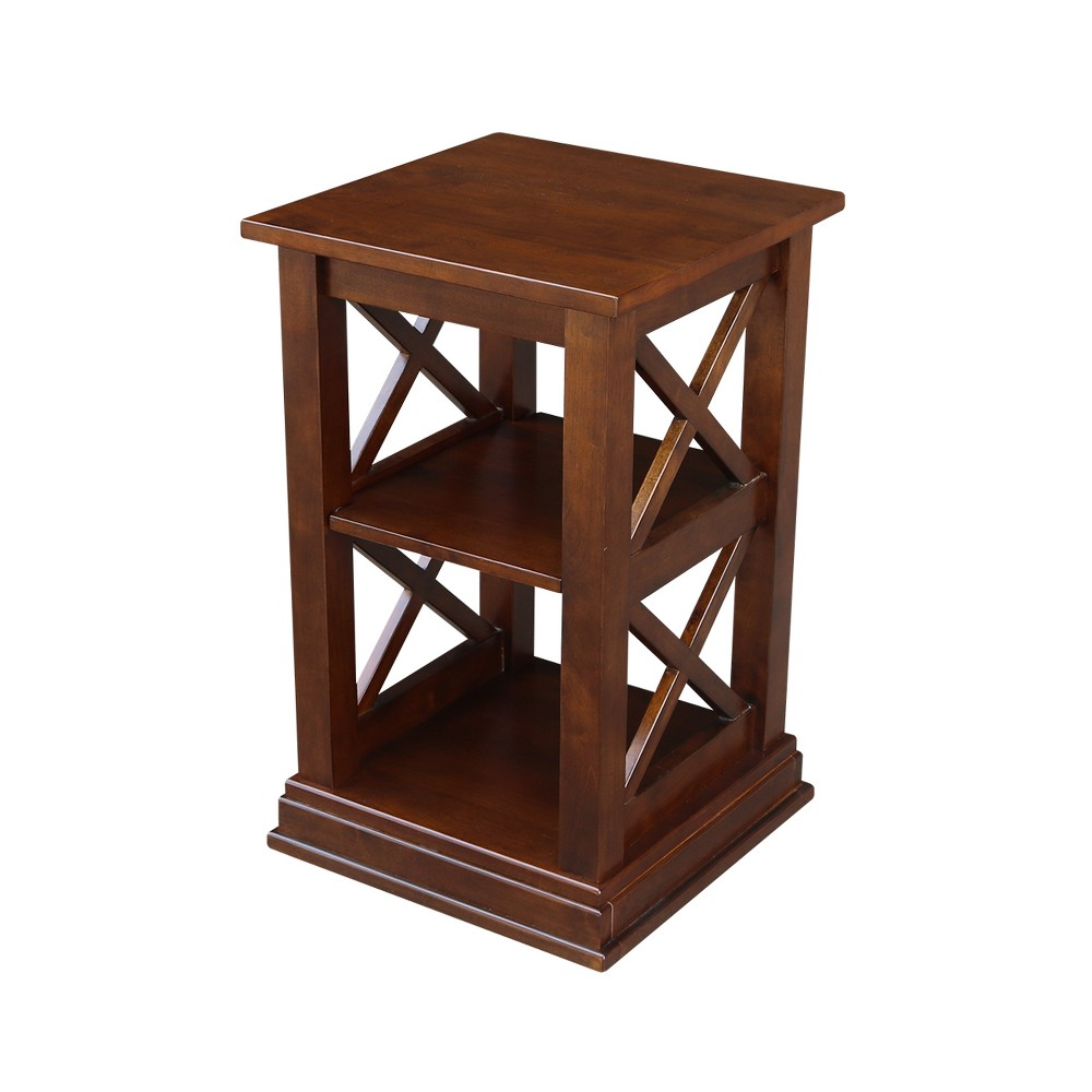 Hampton Square End Table with Shelves Espresso - International Concepts, Brown