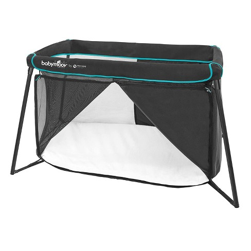 Babymoov Naos 2 in 1 Lightweight Portable Washable Memory Foam Travel Infant Crib & Playpen Playard, Carry Case Included, UV 50+ Ages 0-4, Black/Blue - image 1 of 4