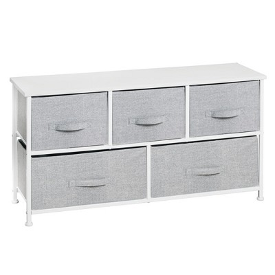 mDesign Extra Wide Entryway Dresser Storage Tower with 5 Drawers - Gray/White