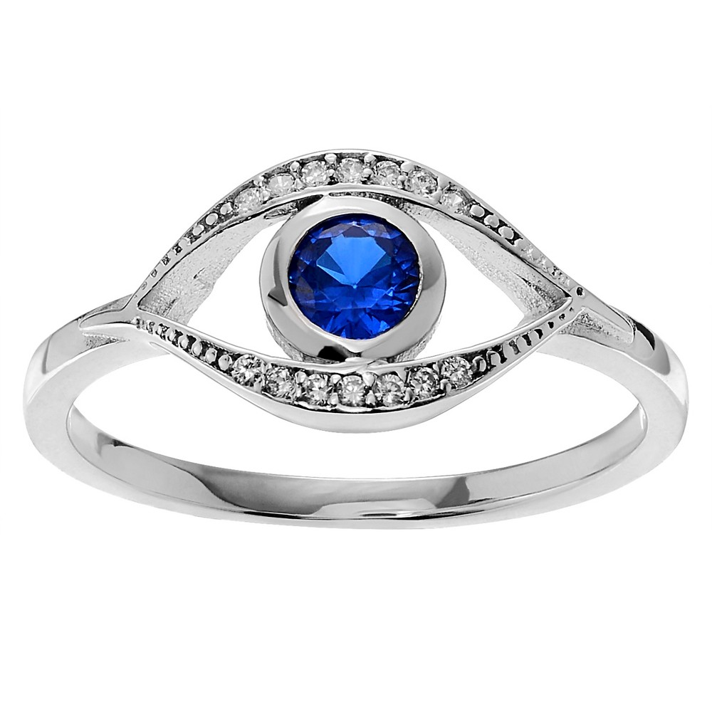 3/8 CT. T.W. Round-cut CZ Evil Eye Bezel Set Ring in Sterling Silver - Blue, 8, Girl's
