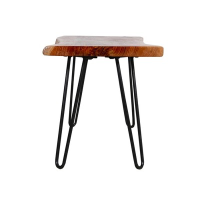 Alaterre Furniture Hairpin Natural Brown Live Edge Wood With Metal Bench : Target