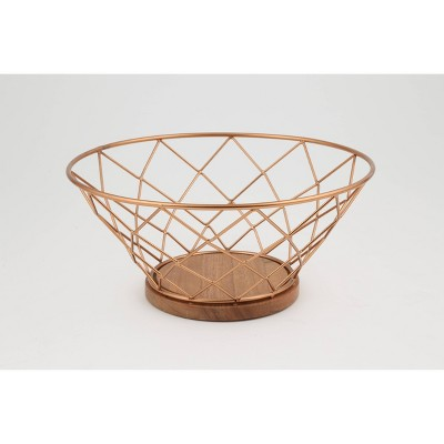 Thirstystone 7.8gal Copper Wire and Acacia Wood Serving Bowl