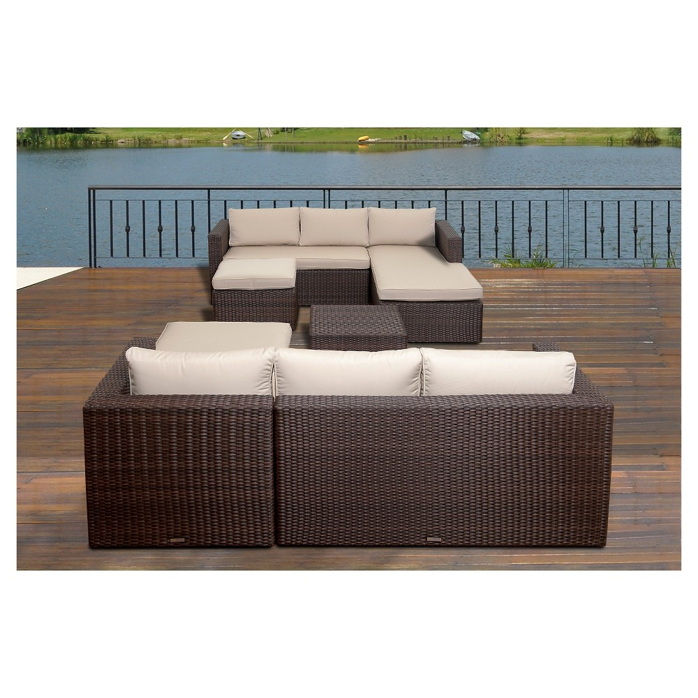 Kissimmee 6 pc Wicker Patio Sectional Set with Sunbrella Antique Beige Cushions - Brown