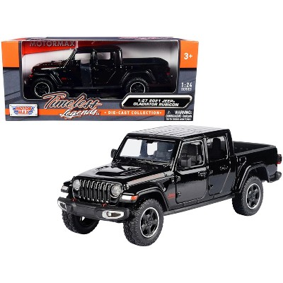 2021 Jeep Gladiator Rubicon (Closed Top) Pickup Truck Black 1/24-1/27 Diecast Model Car by Motormax