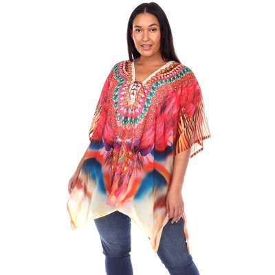 Plus Size Short Caftan with Tie-up Neckline - One Size Fits Most Plus - White Mark