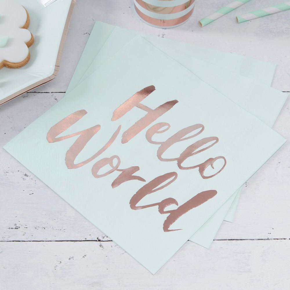 Image of 20ct Ginger Ray Rose Gold Paper Napkins Hello World