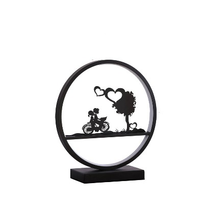 "13"" Novelty Round Metal Table Lamp (Includes LED Light Bulb)Black - Ore International"