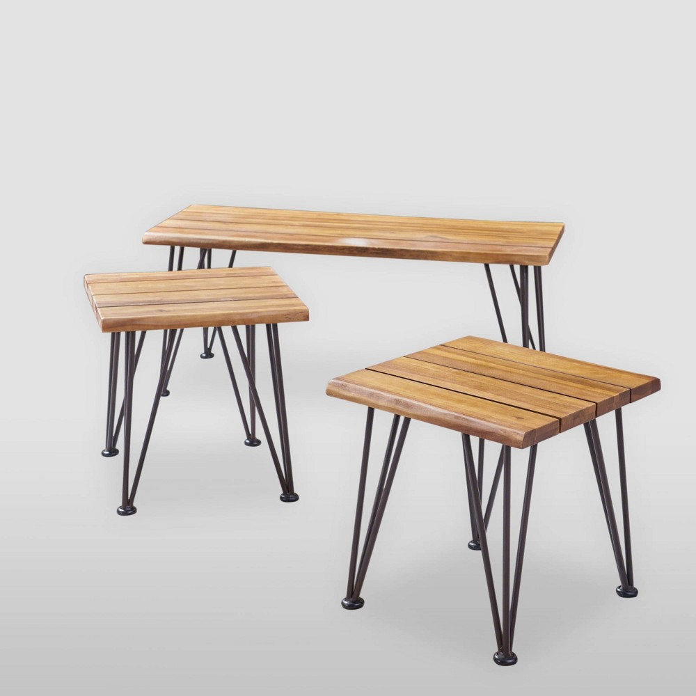 3pc Zion Acacia Wood Industrial Patio Table Set Teak - Christopher Knight Home