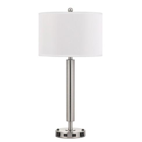60W X 2 Metal Single Rod Night Stand Lamp Silver  - Cal Lighting - image 1 of 1