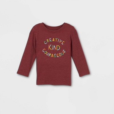 Toddler 'Creative, Kind, Courageous' Graphic Long Sleeve T-Shirt - Cat & Jack™ Maroon