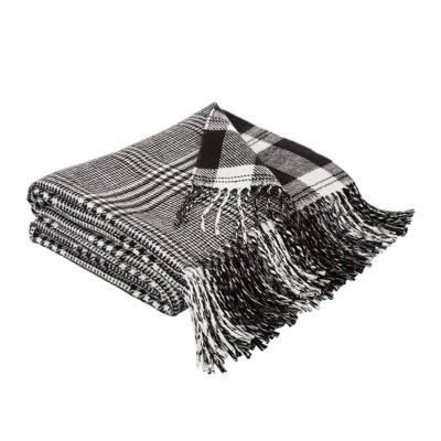 "60"" x 50"" Acrylic Reversible Plaid Woven Throw Blanket Black and White - Glitzhome"