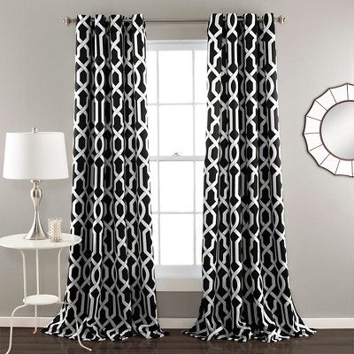 52 x84  Set of 2 Edward Room Darkening Window Curtain Panel Black - Lush Decor